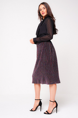 Multi-Coloured Glitter Pleated Midi Skirt