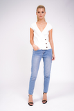 White Ribbed Button Side Top