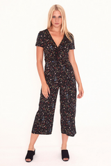 Twist Front Cropped Jumpsuit