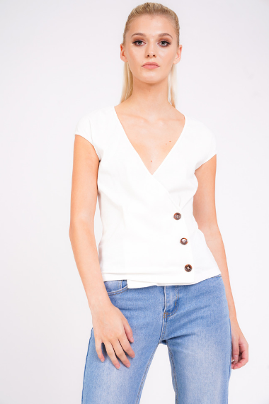 3eecec9390a White Ribbed Button Side Top – UNIQUE21