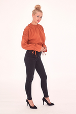 Rust Ruched Long Sleeve Crop