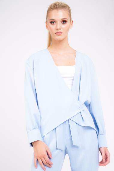 Sky Blue Pinstripe Wrap Top