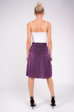 Purple Glitter Pleated Midi Skirt Purplish Red/Mauve