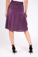 Purple Glitter Pleated Midi Skirt