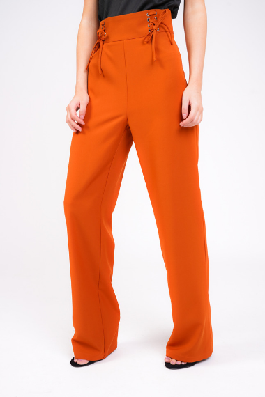 Rust High Waisted Lace Up Trouser