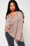 UNIQUE21 HERO Polka Dot Wrap Blouse