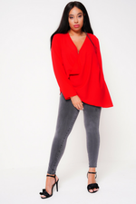 UNIQUE21 HERO Red Wrap Around Blouse