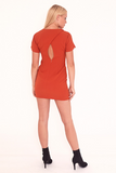 Rust Mini Dress With Back Detailing