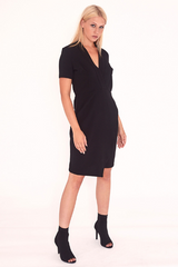 V Neck Wrap Dress In Black