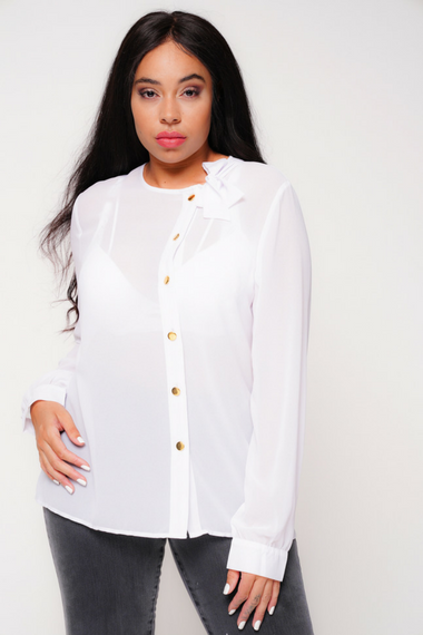 Pussybow Neck Blouse in White by UNIQUE21 Hero