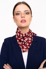 Red Floral Handkerchief Style Scarf