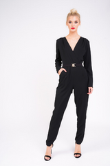 black tailored jumpsuit with gold buckle full view