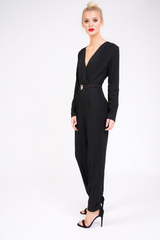 Black Tailored Jumpsuit with Gold Buckle