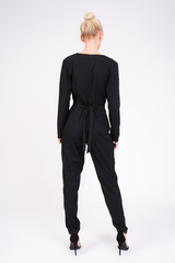black tailored jumpsuit behind view