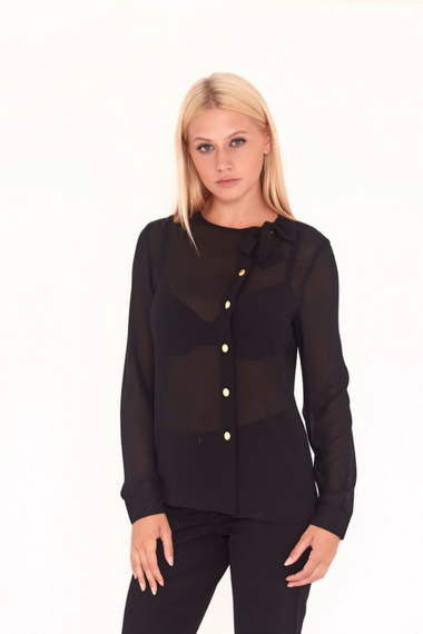 Pussybow Blouse With Gold Buttons in Black
