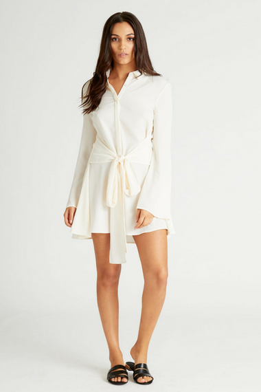 Clo Shirt Dress in Cream