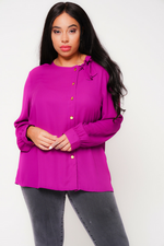 UNIQUE21 HERO Purple Pussyneck Blouse