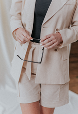 linen shorts and blazer close up