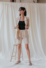 linen shorts and linen blazer