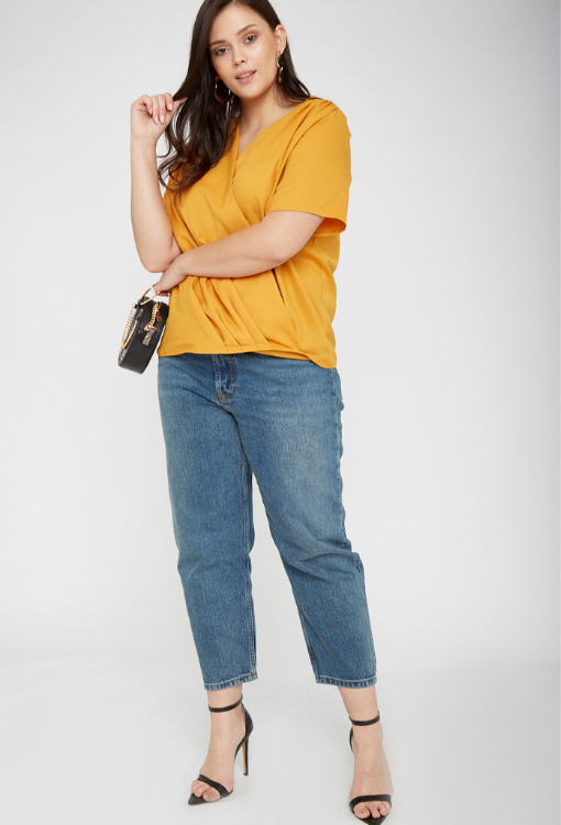 UNIQUE21 HERO Mustard Short Sleeved Wrap Top