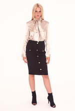 Black Midi Skirt With Gold Buttons