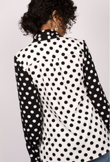 Mixed Polka Dot Pussybow Blouse