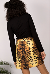 Tiger Print Tailored Mini Skirt