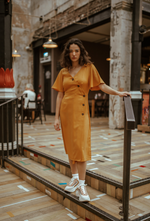 Mustard Wrap Around Button Front Dress