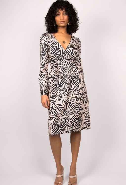 Zebra Print Puff Sleeve Wrap Midi Dress