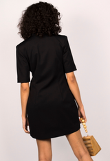 Short Sleeve Asymmetric Blazer Dress in Black