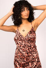 Leopard Print Satin Slip Dress With Cross Back