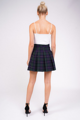 Tartan Pleated Mini Skirt With Gold Buckle