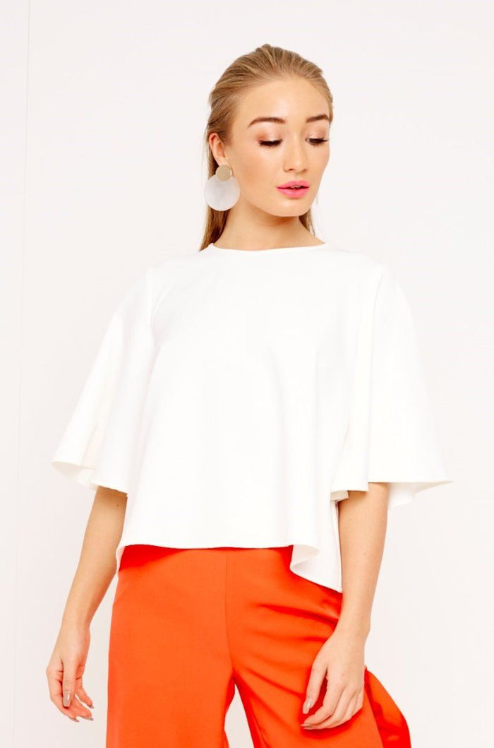 WHITE BUTTERFLY SLEEVE CROP TOP
