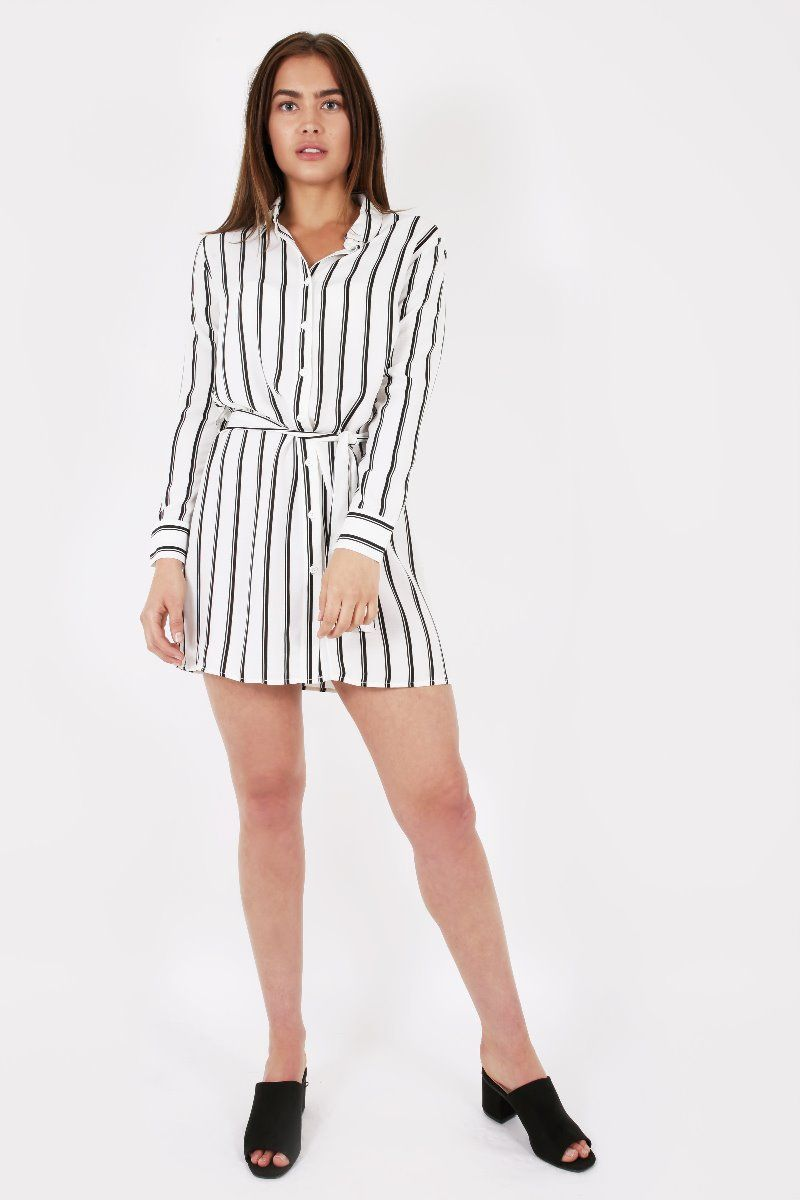 WHITE AND BLACK VERTICAL STRIPE SHIRT DRESS