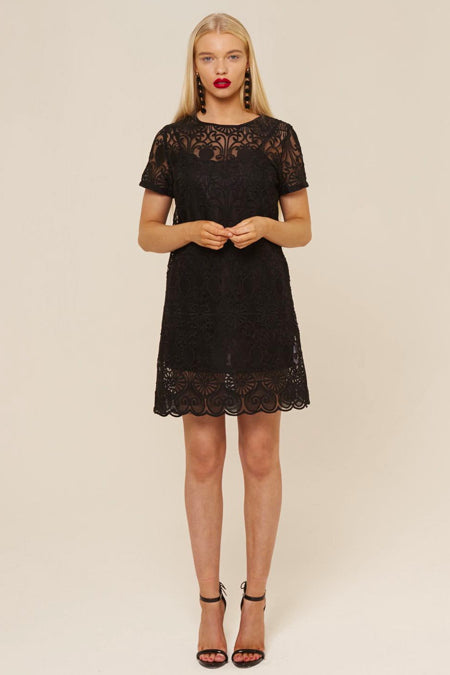 CONTRAST BLACK LACE DRESS