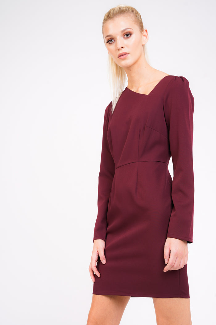 Plain Background Wearing Asymmetric Dress In Berry Front Cropped Image