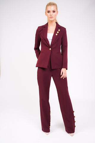 Model Against Plain Background Wearing Berry Blazer With Gold Button Detail Front Image