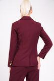 Model Against Plain Background Wearing Berry Blazer With Gold Button Detail Back Cropped Image