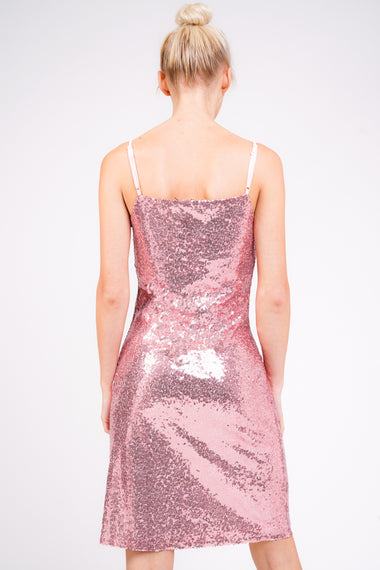 Pink Sequin Midi Cami Slip Dress