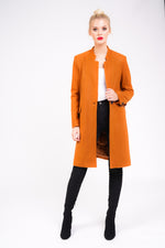 boyfriend style overcoat in rust full outfit
