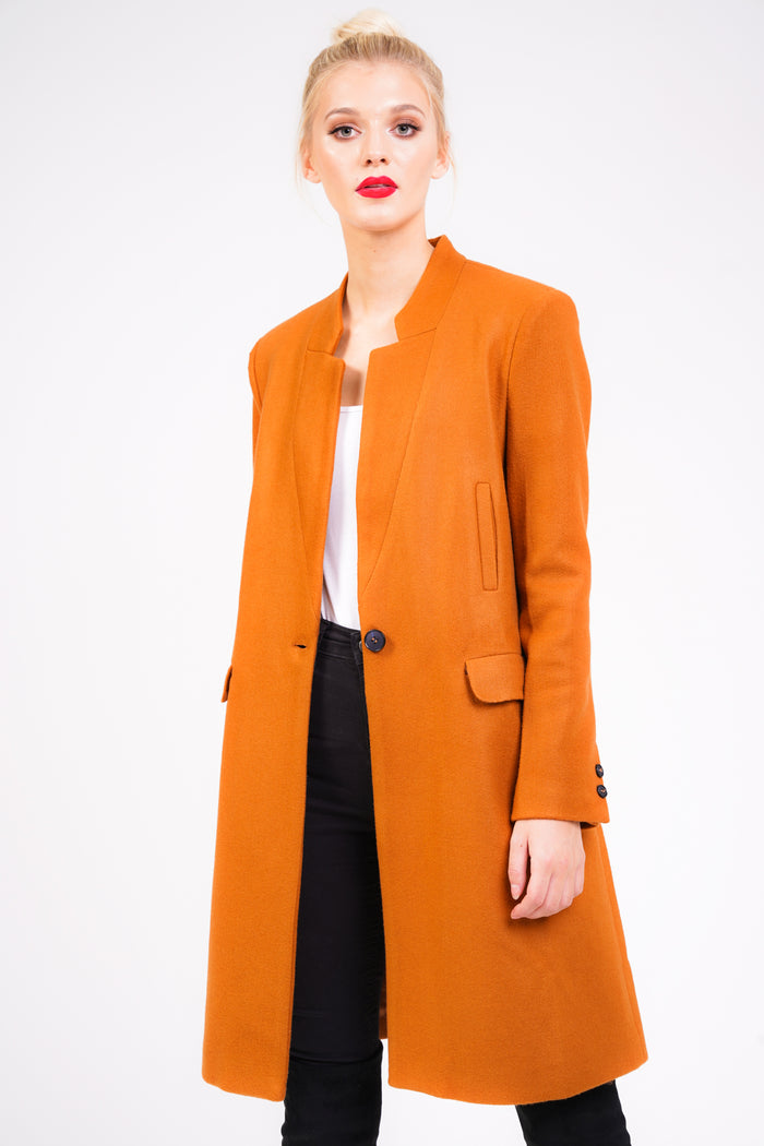 Boyfriend Style Overcoat in Rust