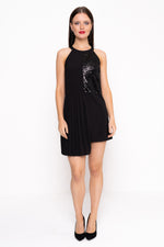 Sequin Panel Dress With Pleats