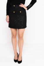 Tweed Sequin Skirt With Gold Buttons