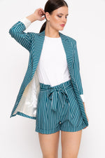 Green Stripe Paperbag Shorts