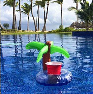 Inflatable Palm Tree Floating  Drink Holder/Cooler Coasters for Swimming Pool Party Water Fun