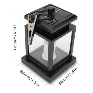 Waterproof LED Solar Garden Light Outdoor Flickering Flameless Candle Hanging Lantern Smokeless