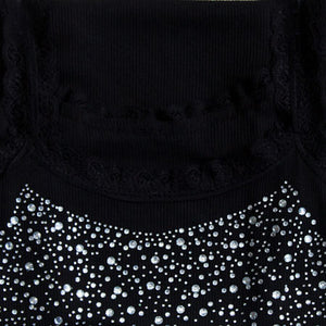 HEE GRAND Summer Women Casual Tank, Bling Rhinestone Lace Crop Top Solid Sliming, Soft  Colete WBJ056