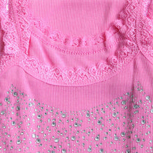 Load image into Gallery viewer, HEE GRAND Summer Women Casual Tank, Bling Rhinestone Lace Crop Top Solid Sliming, Soft  Colete WBJ056