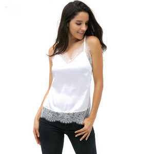 Soft Silk Crop – Summer Women Sexy Lace Sleeveless Casual Tank –  In White, Red or Black
