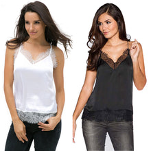 Load image into Gallery viewer, Soft Silk Crop – Summer Women Sexy Lace Sleeveless Casual Tank –  In White, Red or Black